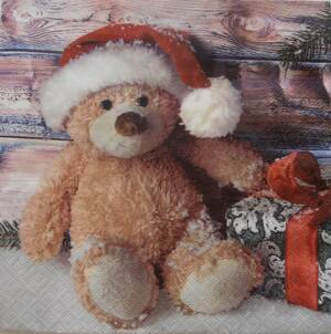"Servítka ""Christmas Teddy with Present"""